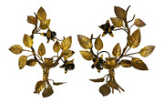 Vintage Italian Leaf Design Gilt Gold Tole Metal Candle Wall Sconce, A Pair