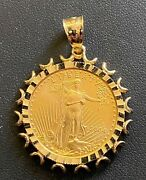 2004 10 American Gold Eagle 1/4ozt. In 14kt Yellow Gold Pendant With 6mm Bale
