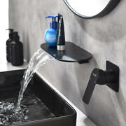 Chrome Brass Double Hole Basin Faucet Wall Mounted Hot Cold Mixed Waterfall Tap