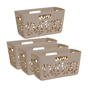 Hutzler Taupe Brown Plastic Pantry Basket 4piece Attractive Organic Easy Access