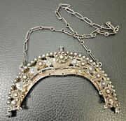 Art Nouveau Solid Silver Purse Frame With Handle And Clasp