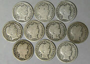Lot Of 10 Different And039pand039 Mint Barber Dimes 1900 1905 1908 1909 1911-16 Full Rims