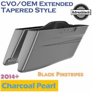 Charcoal Pearl Cvo Tapered Stretched Saddlebags Pinstripes For 2014+ Harley