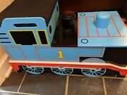 Thomas The Train Wooden Toy Box With Seat With Some Tracks And Engines