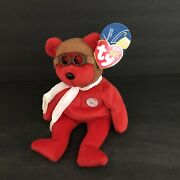 Bearon Midwest Airlines Promotion Tag And Ty Beanie Baby Red Bear Flight Wright