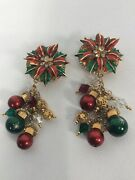 Statement Vtg Lunch At The Ritz Christmas Tree Crystal Gold Tone Clip Earrings