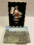 Mackenzie Childs Courtly Check Candy Cottage Santa Glass Ornament And Gift Box New