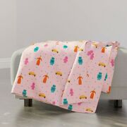 Throw Blanket Pink Vintage Retro Dots Party Kids Decor 48 X 70in