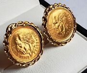 18k Earrings With Genuine Centenario Coins 21.6k Solid Gold 2.5 Pesos 1945