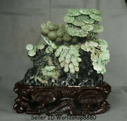 13.2 Natural Dushan Green Jade Carved Fruitage Litchi Chinensis Peanut Statue