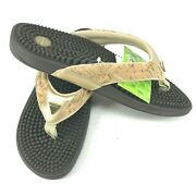 New Kenkoh Massage Sandals Cork Metallic 28cm Us Ladies 11 Eu 42