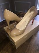 Christian Louboutin 38.5 Simple Pump Patent Leather Camel Ecu With Box