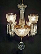 Vintage 4 Arm 5 Lite Waterford Style Crystal Globe Brass Chandelier Pair Avail