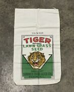 Vintage Tiger Grass Seed 5lb Cloth Bag Illinois Advertising 50s 60s Agriculture