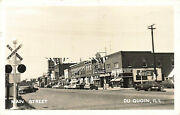 Du Quoin Il Main Street Storefronts Coca-cola Sign Old Cars Real Photo Postcard