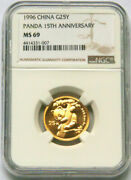 1996 1/4oz Gold Coin-15th Anniversary Issue Of Panda Gold Coin Ngc Ms69