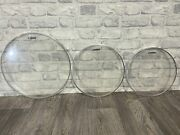 Sonor Clear Resonant Tom Rock Size Drum Heads Skins Set Of 3