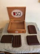 Vintage Dunhill 2 Piece 4 Cigar Case Holder And Esq Wood Cigar Box, Other Case Lot