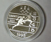 Proof 1995-p Olympic Track And Field Commemorative 90 Silver Dollar In Capsule