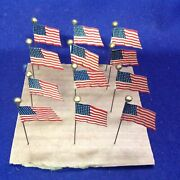 12 Antique Wwi Celluloid Stickpin Parade Pin 48 Star American Flag Miniature Toy