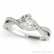 0.77 Ct D/si1 Natural Diamond Twisted Shank Engagement Ring Round 14k White Gold