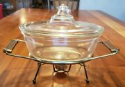 Vintage Pyrex 194 294 Dish W/lid And Metal Carrier Old Stamp
