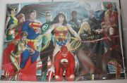 Dc Comics 2008 Justice League Of America Heroes Signed 24 X 36 Poster Alex Ross