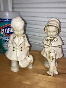 Vintage 1940's Coventry Ware Chalkware Figurines Boy And Girl W/ Dogs Terrier Pika
