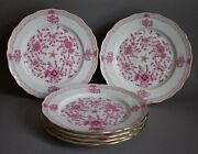 Set Of 6 Chargers 11 Plates Meissen Indian Painting Purple Pink Flowers B