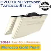 Morocco Gold Pearl Cvo Tapered Stretched Saddlebags Pinstripes Fits Harley 14+