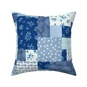 Blueberry Patchwork Country Throw Pillow Cover W Optional Insert By Spoonflower