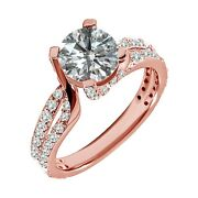 1.75 Carat Real White Diamond Split Shank By Pass Solitaire Ring 14k Rose Gold