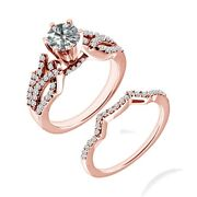 1 Carat Real White Diamond Solitaire By Pass Bridal Ring Band 14k Rose Gold
