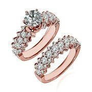 1.5 Carat Real White Diamond Cluster Solitaire Wedding Ring Band 14k Rose Gold