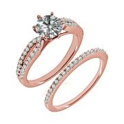 1.25 Carat Real White Diamond Crossover Solitaire Ring Band Set 14k Rose Gold
