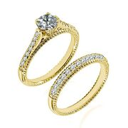 1.25 Ct Real White Diamond Solitaire Filigree Bridal Ring Band 14k Yellow Gold