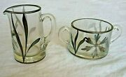 Vintage Clear Glass Sugar Bowl And Cream Pitcher W/ Silver Overlay   L5