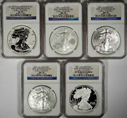2011 Silver Eagle 5 Coin Set Ngc Pf70 Ms70 Ucam Er 25th Anniversary Set