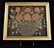 Early Antique Framed Handmade Embroidery Still Life Flowers In Basket