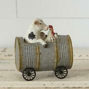 Primitive Rustic Wheeled Cow And Chicken Driving A Can Car Pull Toy Primitive