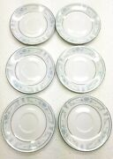 6 Blue Whisper Sheffield Bread And Butter Plates 6 Vintage Fine Porcelain China