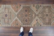 Vintage Turkish Oushak Runner Rughandwoven Wool Antique Rug Runner 2and0398x10and0394 Ft