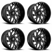 4 Fuel 22x8.25 D741 Runner Front Dually Wheels Gloss Black Milled 8x200 +105mm