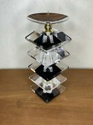 Shlomi Haziza Acrylic Lucite Black And Clear Candle Holder Signed And W/sticker