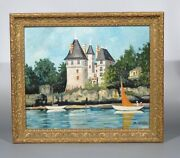Vintage French Oil Painting, Seascape, Atlantic Coast, Brittany, Chateau, Signed