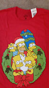 The Simpsons Family Christmas Wreath T Shirt Red Marge Homer Bart Lisa Size L