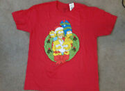 The Simpsons Family Christmas Wreath Shirt Red Marge Homer Bart Lisa Size Xl New