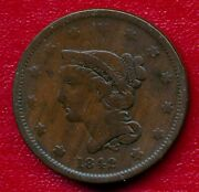 1842 Braided Hair Large Copper Cent Nicely Circulated Free Shipping