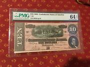 Confederate Currency Pmg 1864 10 64 Epq 90459 Ppb T-68