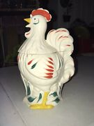 Vintage Chicken Rooster Cookie Jar Pottery Guild Of America Hand Painted